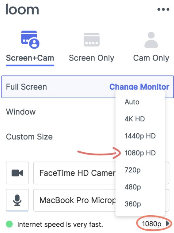 Video recording quality – Loom